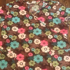 Brown floral scrub top